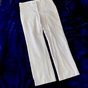 ISAAC MIZRAHI. LITE BROWN & WHITE SEERSUCKER PANTS